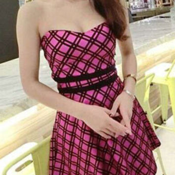 Best Selling Checkered Print Backless Wide Hem Women Mini Strapless Dress