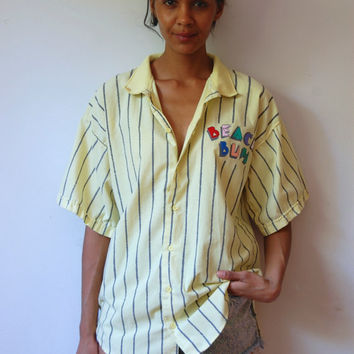 Vtg 80's Men Beach Bum Yellow Striped Button Down SS Shirt