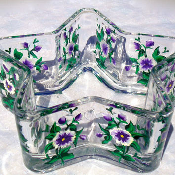 Glass Bowl With Purple Flowers