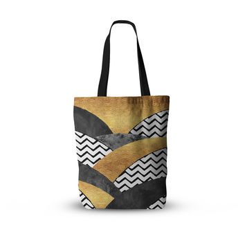 "Zara Martina Mansen ""Chevron Hills"" Gold Black White Everything Tote Bag"