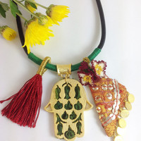Authentic  Necklace With Hand of Fatima/Hamsa/Amulet/oya