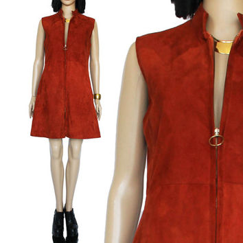 70s Rust Suede Leather Mini Dress Boho Retro Mod Hipster Clothing 90s Style Clothing Womens Size Medium