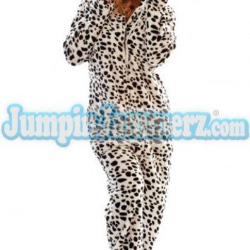 Fuzzy Dalmatian - Hooded Footed Pajamas - Pajamas Footie PJs Onesuits One Piece Adult Pajamas - JumpinJammerz.com