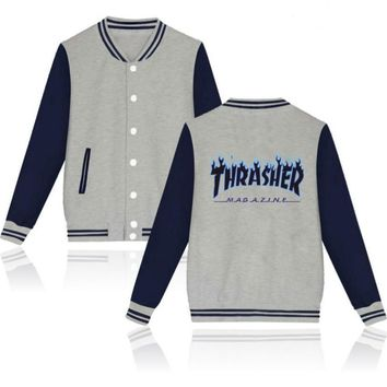 Thrasher flame special large size tide coat plus cashmere couple baseball clothing Black letters