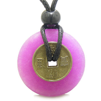 Lucky Coin Evil Eye Protection Amulet Dyed Hot Pink Quartz 30mm Donut Pendant Necklace