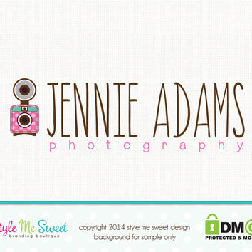 Premade Logo with Camera - Hand Drawn Sketched Doodled Camera Logo Watermark Design Name Text Logo