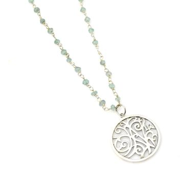 Green Onyx and Sterling Silver Rosary Chain