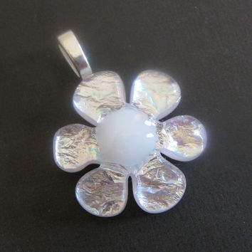 Dichroic Fused Glass Pendant Jewelry Flower Daisy by mysassyglass