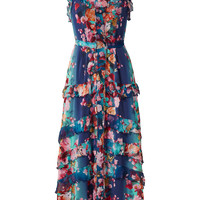 Fuzzi Blue Floral Printed Midi Dress