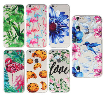 New Mandala Soft Colorful Flamingo Flower Case Cover For iPhone 7 7P 6 6S 5S 6PLUS Transparent Silicone Phone Cases Fundas Capa