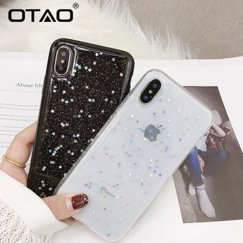 OTAO Glitter Shining Phone Case For Apple iPhone X 8 7 6S 6 Plus 5 5S 5C SE Cases Love Heart Star Cute Luxury Soft Cover Coque