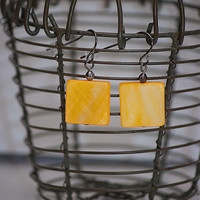 Handmade Yellow Mother of Pearl Square Dangle Earring with Gunmetal Accent
