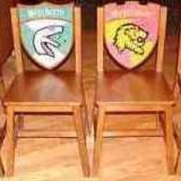 Harry Potter Hogwarts School Wooden 4 Chair Set: Gryffindor, Hufflepuff, Ravenclaw and Slytherin