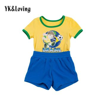 Football Tracksuits Baby Boy Clothes Short sleeve t shirt+pants Brasil Soccer Jers Boys Kids Clothing Set Brazil World Cup