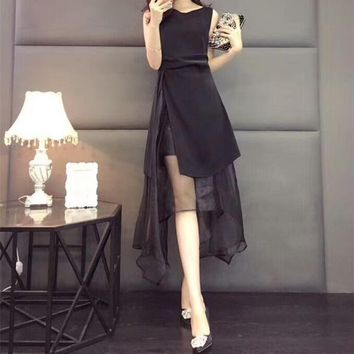 """Dior"" Temperament Fashion Gauze Stitching Irregular Sleeveless Dress Women Solid Color Evening Dress"