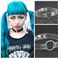2016 Punk Ladies Gothic Leather Anime Choker Necklace Heart Round Spike Rivet Buckle Collar Necklaces & Pendants Collier Femme