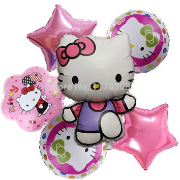 Hello Kitty foil Balloons Kids Classic Toys Birthday Party Decorations air ballon 6pcs/set Cartoon baloon holiday Party Supplies