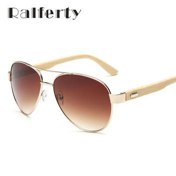 Ralferty Vintage Pilot Sunglasses with Eco-Friendly Bamboo Legs