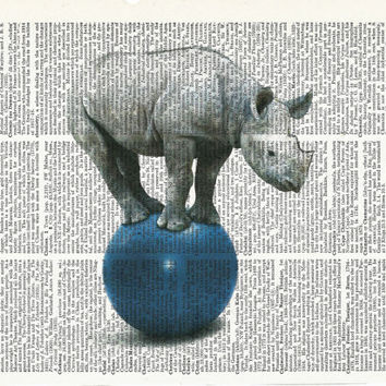 Book Print Mr.Hyppo Standing on a Blue Ball on Vintage Upcycle Book Page Print Art Print Dictionary Print Collage Print