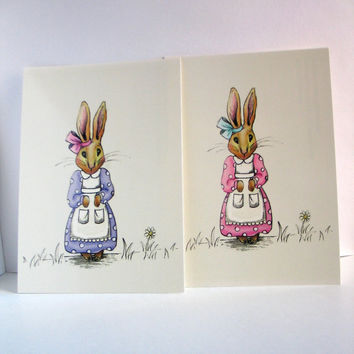 Storybook bunny postcard prints set of 2 kids by wonderlaneart