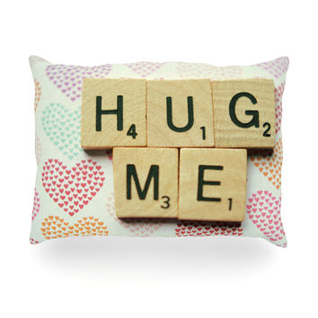 "Cristina Mitchell ""Hug Me"" Heart Text Oblong Pillow"