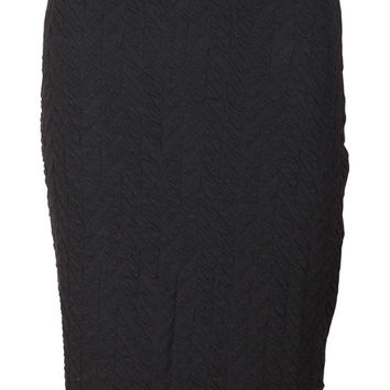 Salli Black Textured Pencil Skirt