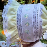 Heirloom Collection Yellow Baby Bonnet