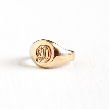 Vintage Art Deco 10k Yellow Gold Letter D Signet Children's Ring - 1920s Size 1/4 Initial Monogrammed Personalized Midi Baby Fine Jewelry
