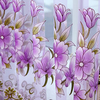Modern Floral Tulle Curtains for Living Room curtains for  Bedroom Kitchen  nonwashable