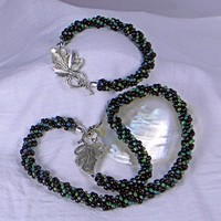 Kumihimo Braided Black and Green Beaded Necklace and Bracelet Set