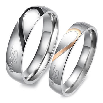 18K Gold Plated 316L Stainless Steel Couple Rings [7495452935]