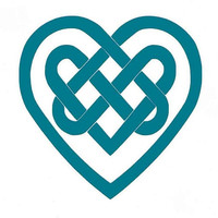 Celtic Heart Car Decal, Computer Decal, Turquoise, Blue, Pink, Green, Yellow