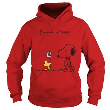 Snoopy and Woodstock you make me happy shirt Hoodie
