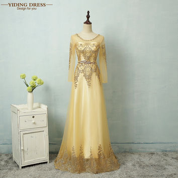 Gold Evening Dresses 2017 Sequined Party Robe De Roiree Tulle Fromal Long Sleeve Dress
