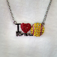 I Heart Softball Necklace