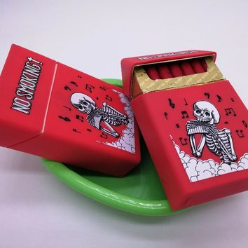 Music Dancing Skull Silicone Rubber Cigarette Box Creative smoking cigarette Case Cover