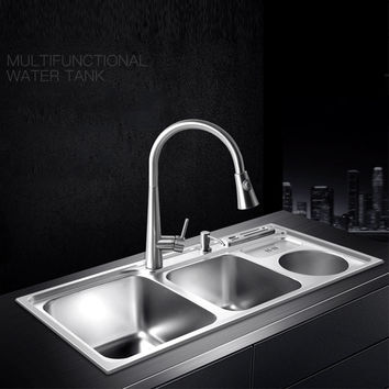 multifunctional kitchen sink Stainless steel brushed   double bowl Drawing drainer hot and cold water faucet  free shipping sink
