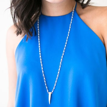 Eyes On Me Baby Blue Beaded Horn Necklace