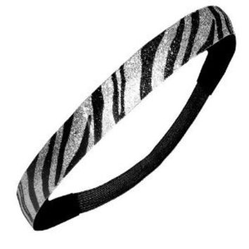 Black and Silver Zebra Glitter Sparkly Sports Headbands - Glitter Headband Store
