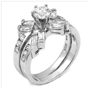 Sterling Sterling Round cut and Baguette CZ Wedding Ring Set size 5-9