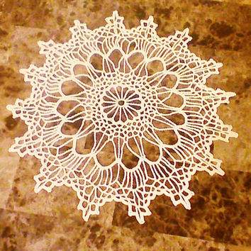 Cream Crochet doily/ crocheted dolly/tablecloth/placemat/table runner/white crochet coaster