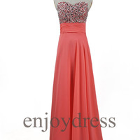Custom Coral Beaded Long Prom Dress Formal Evening Gowns Wedding Party Dresses Formal Party Dresses Bridesmaid Dresses 2014 Cocktail Dress