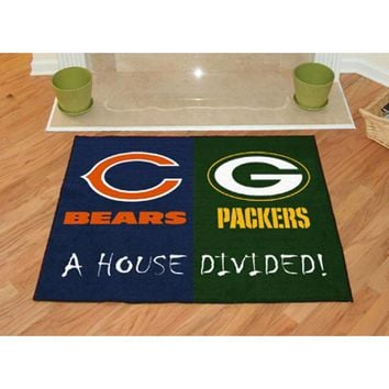 Fan Mats 8461 House Divided Chicago Bears and Green Bay Packers Rectangular: 2 ft. 10 in. x 3 ft. 8 in. Fan Mat