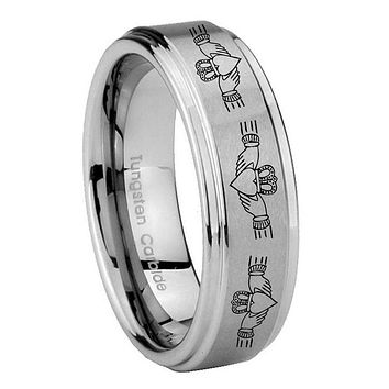 8MM Irish Claddagh Step Edges Silver Tungsten Carbide Laser Engraved Ring
