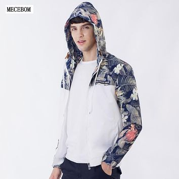 MECEBOM Floral Bomber Jacket Men Hip Flowers Pilot Bomber Jacket Coat Men's Hooded Jackets Plus Bomber jacket men BBJ50