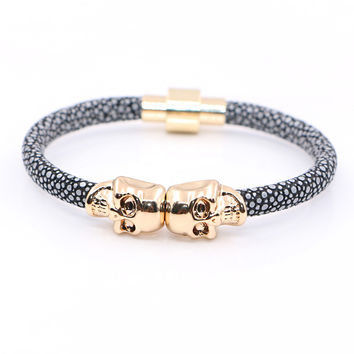 2016 New Fashion  Northskull Stingray Leather Skull Bracelet Twin Skull Bracelets Bangles for Man Women Jewelry Gift