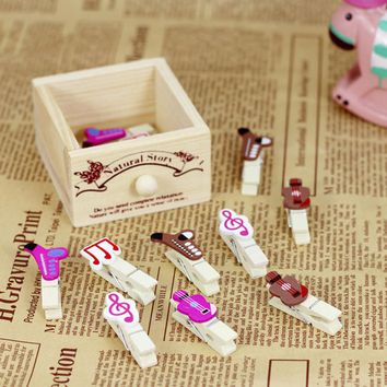 2017 Paper Clips 10 Pcs/lot Kawaii Cartoon Animals Wood Clip Photo Paper Clothespin Craft Clips Party Decoration With Hemp Rope