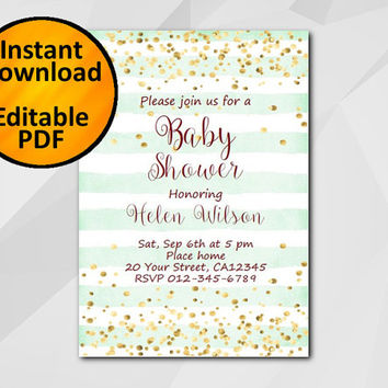 Editable Baby Shower Invitation, Gold Confetti turquoise stripe Invitation, Instant Download etsy Baby Shower invitation XB325ts-1