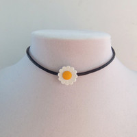 Black leather choker with daisy charm pick small medium or large daisy hippie hippy hipster 90s grunge