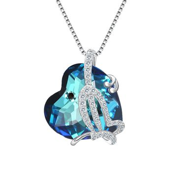 "925 Sterling Silver CZ ""Butterfly Love"" Heart Pendant Necklace Made with Swarovski Crystals"